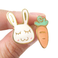 Adorable Bunny Rabbit and Carrot Shaped Animal Themed Stud Earrings | Limited Edition | DOTOLY