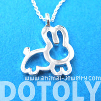 Adorable Bunny Rabbit Animal Outline Pendant Necklace in Silver | DOTOLY | DOTOLY