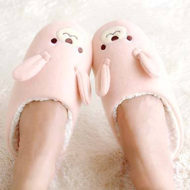 Adorable Bunny Rabbit Animal Shaped Slip-On Slippers for Women in Pink | DOTOLY