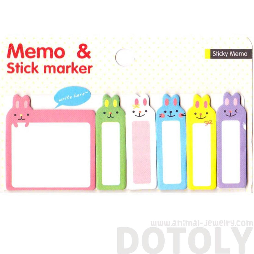 Adorable Bunny Rabbit Shaped Animal Memo Pad Post-it Index Sticky Pad