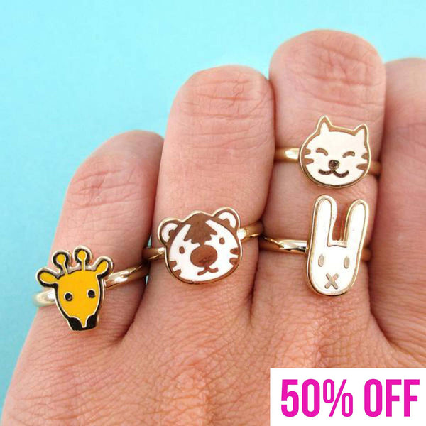Cute Bunny Tiger Giraffe Cat Shaped 4 Piece Adjustable Animal Ring Set