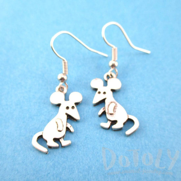 Adorable Cartoon Mice Mouse Shaped Dangle Earrings in Silver | Animal Jewelry | DOTOLY