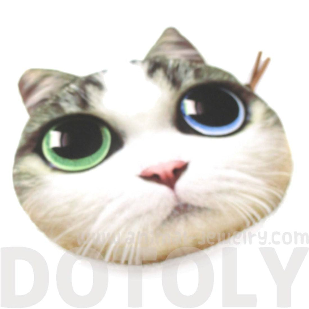 Adorable Cat Face With Blue and Green Eyes Shaped Coin Purse Make Up Bag | DOTOLY