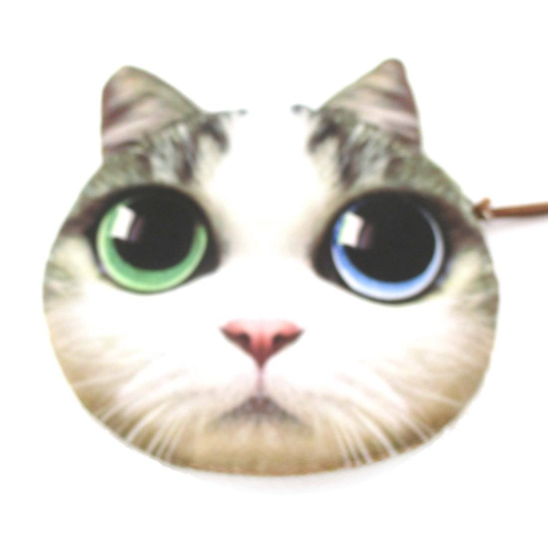 Adorable Cat Face With Blue Green Eyes Shape Coin Purse