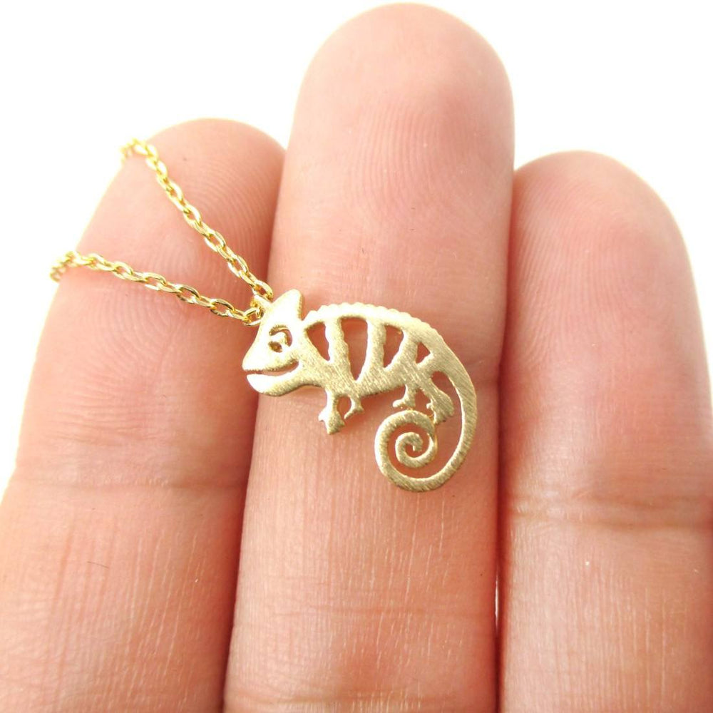 Cute Chameleon Shaped Cut Out Charm Necklace in Gold | Animal Jewelry