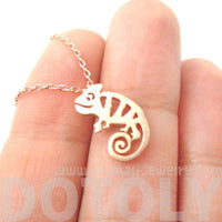 Adorable Chameleon Shaped Cut Out Charm Necklace in Rose Gold | DOTOLY