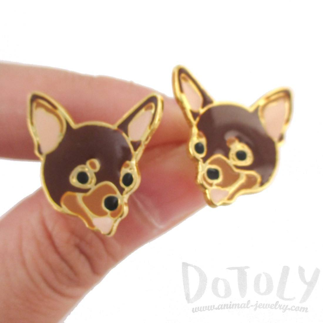 Adorable Chihuahua Puppy Dog Face Shaped Stud Earrings in Brown