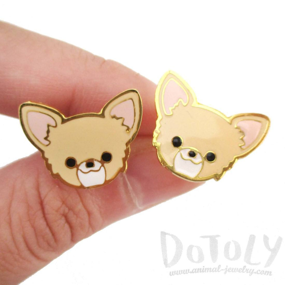 Adorable Chihuahua Puppy Dog Face Shaped Stud Earrings in Tan | DOTOLY