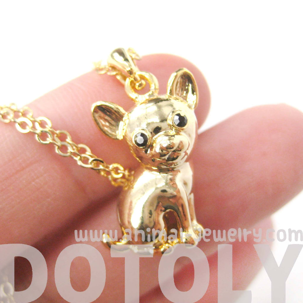 Adorable Chihuahua Puppy Dog Shaped Animal Pendant Necklace in Gold | DOTOLY