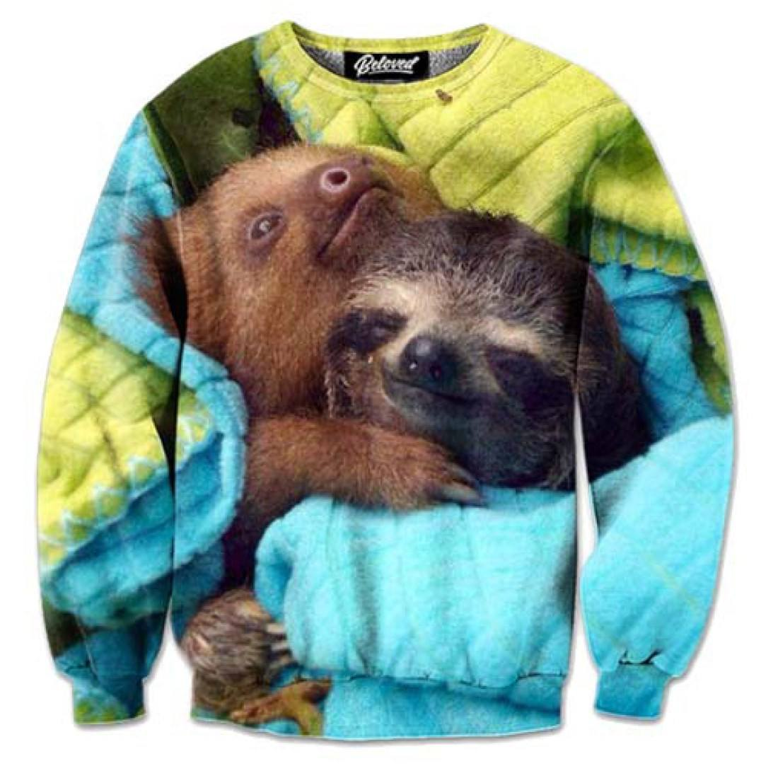 Adorable Cuddling Baby Sloths Graphic Print Unisex Pullover Sweater