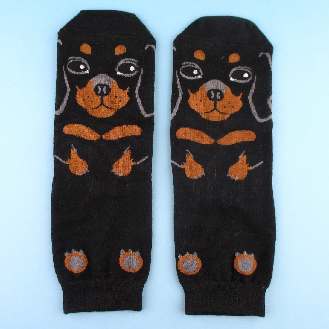 Adorable Dachshund Puppy Dog Shaped Cotton Socks in Black | DOTOLY