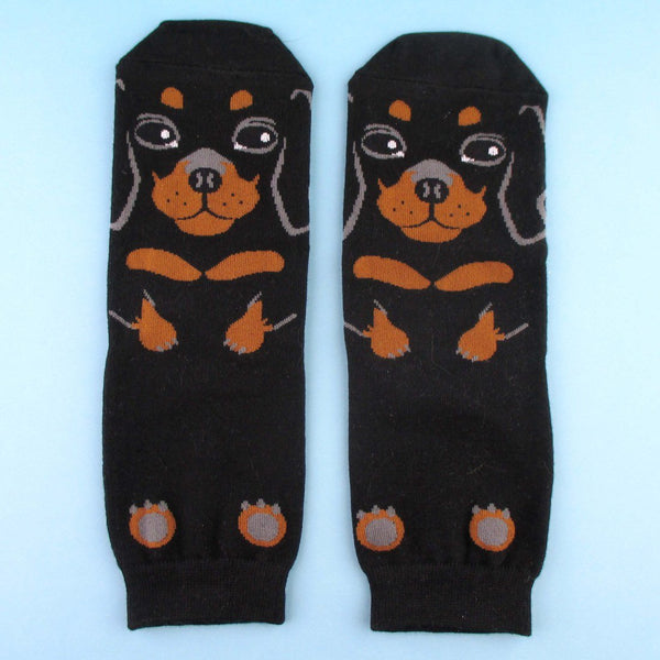 Adorable Dachshund Puppy Dog Shaped Cotton Socks in Black | DOTOLY | DOTOLY