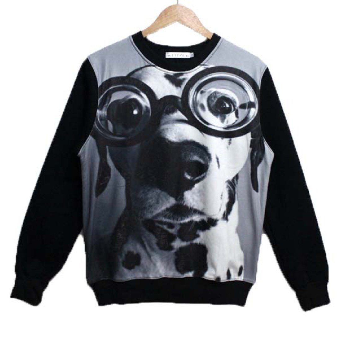Adorable Dalmatian Wearing Glasses Dog Face Graphic Print Sweater