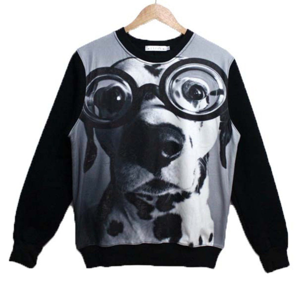 Adorable Dalmatian Wearing Glasses Dog Face Graphic Print Unisex Pullover Sweater in Black and White | DOTOLY