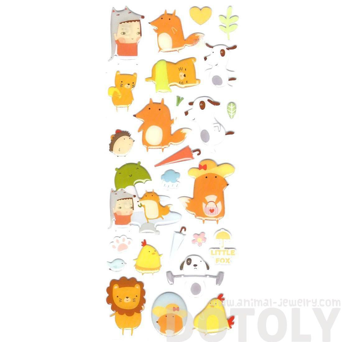 Puppies Lions and Foxes Shaped Animal Jelly Stickers for Scrapbooking