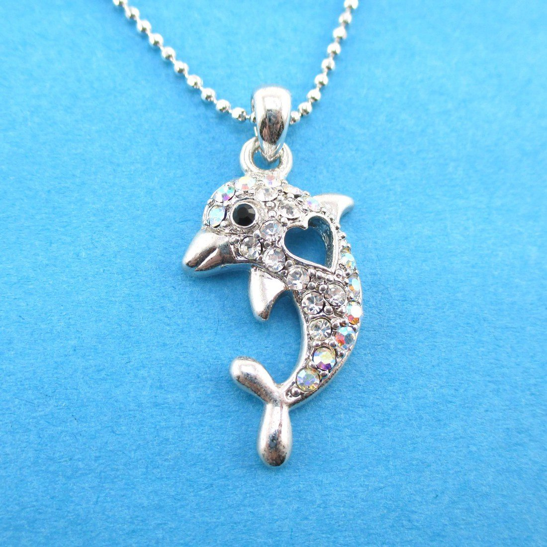 Dolphin and Heart Shaped Rhinestone Pendant Necklace