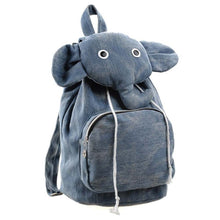 Adorable Elephant Shaped Canvas Drawstring Backpack for Women in Blue