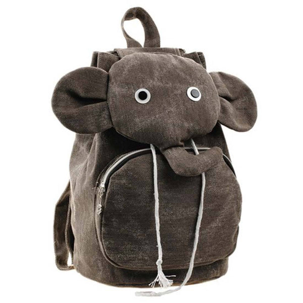 Adorable Elephant Shaped Canvas Drawstring Backpack for Women in Brown