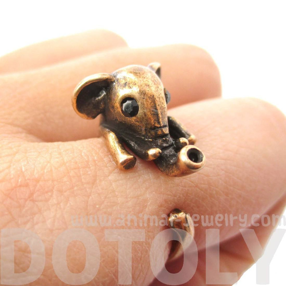 Adorable Elephant Shaped Animal Wrap Ring in Copper | US Sizes 7 to 9