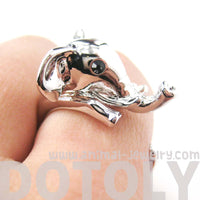 Adorable Elephant Shaped Animal Wrap Ring in Shiny Silver | US Sizes 7 to 9 | DOTOLY
