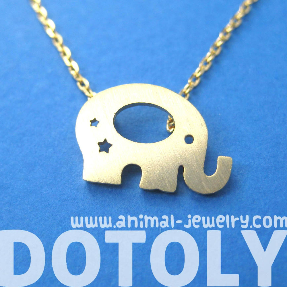 Adorable Elephant Silhouette Shaped Charm Necklace in Gold | DOTOLY | DOTOLY