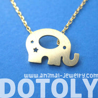 Adorable Elephant Silhouette Shaped Charm Necklace in Gold | DOTOLY