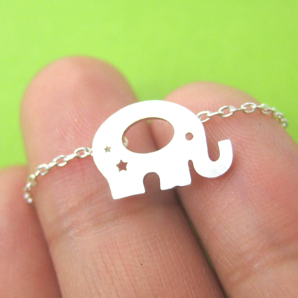 Adorable Elephant Silhouette Shaped Charm Necklace in Silver | DOTOLY