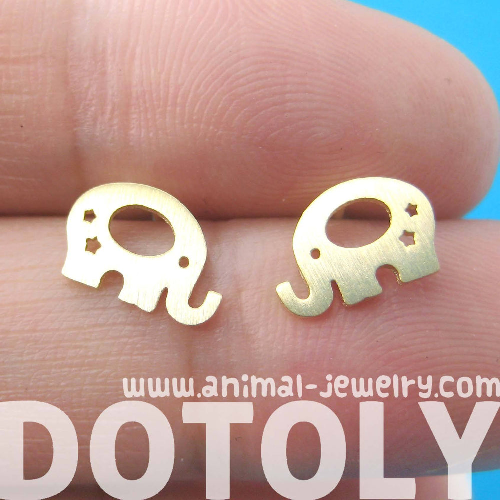 Adorable Elephant Silhouette Shaped Stud Earrings in Gold | Allergy Free