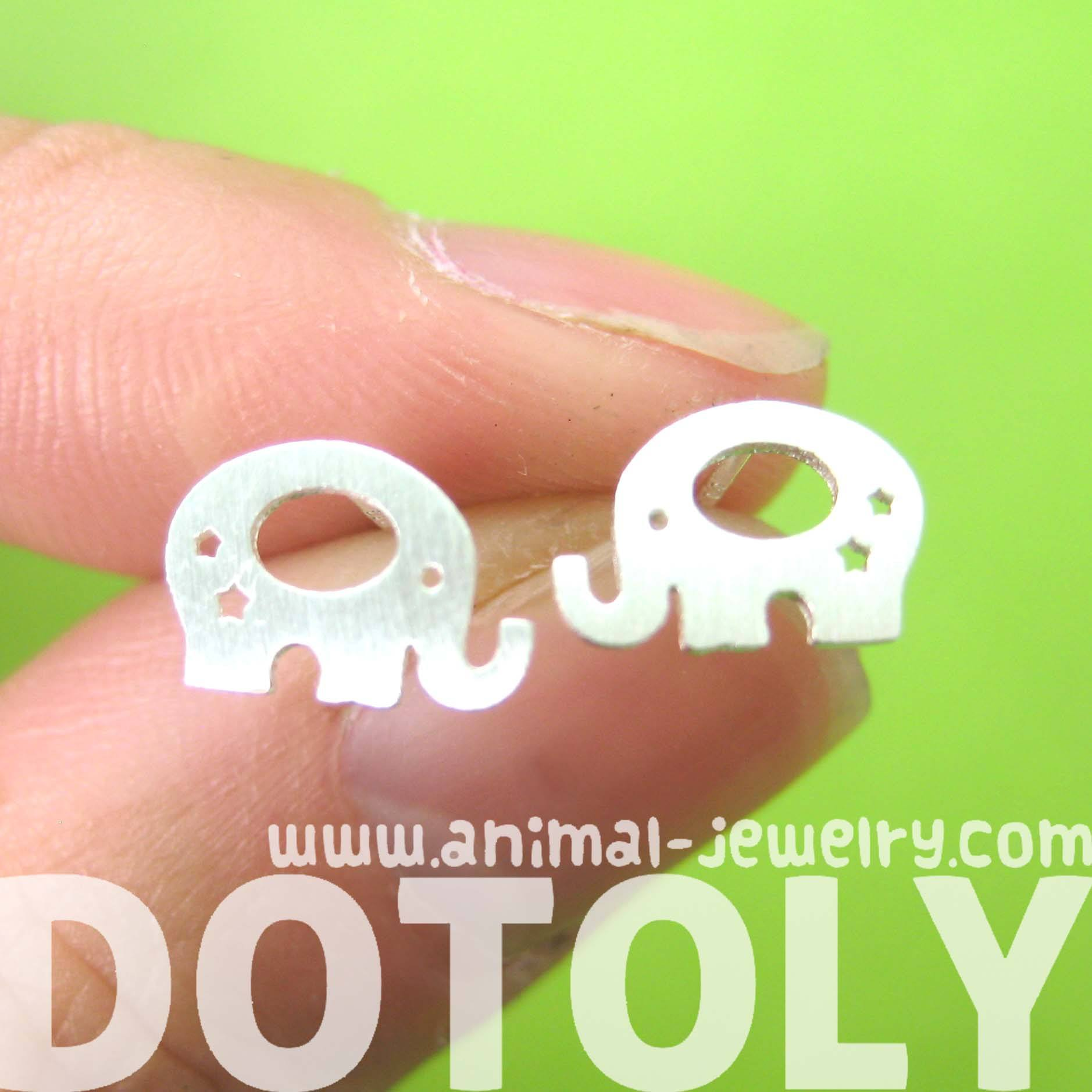 Adorable Elephant Shaped Stud Earrings in Silver | Allergy Free