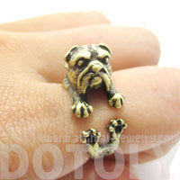 3D English Bulldog Puppy Dog Animal Wrap Ring in Brass