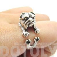 English Bulldog Puppy Dog Animal Wrap Ring in Silver