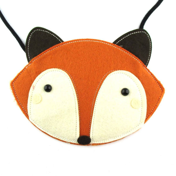 Fox Wolf Face Shaped xBody Felt Bag for Kids in Orange