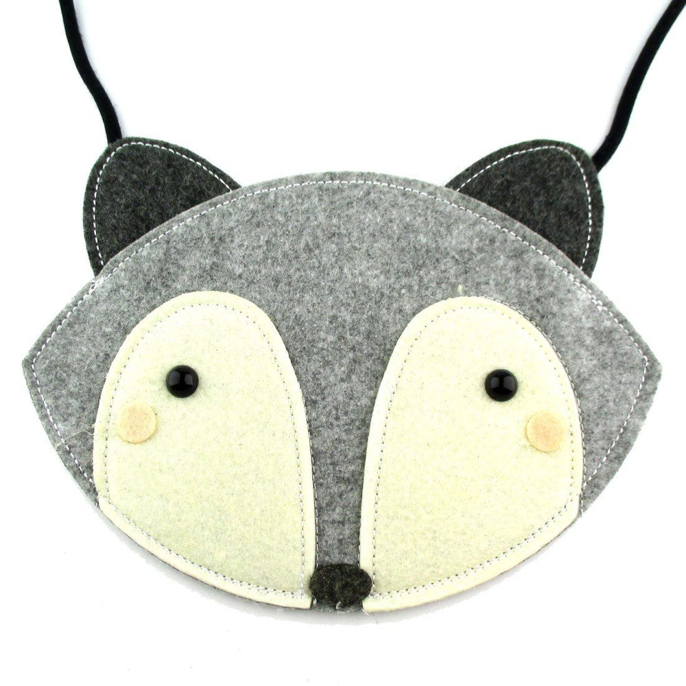 Fox Wolf Face Shaped xBody Felt Bag for Kids in Grey