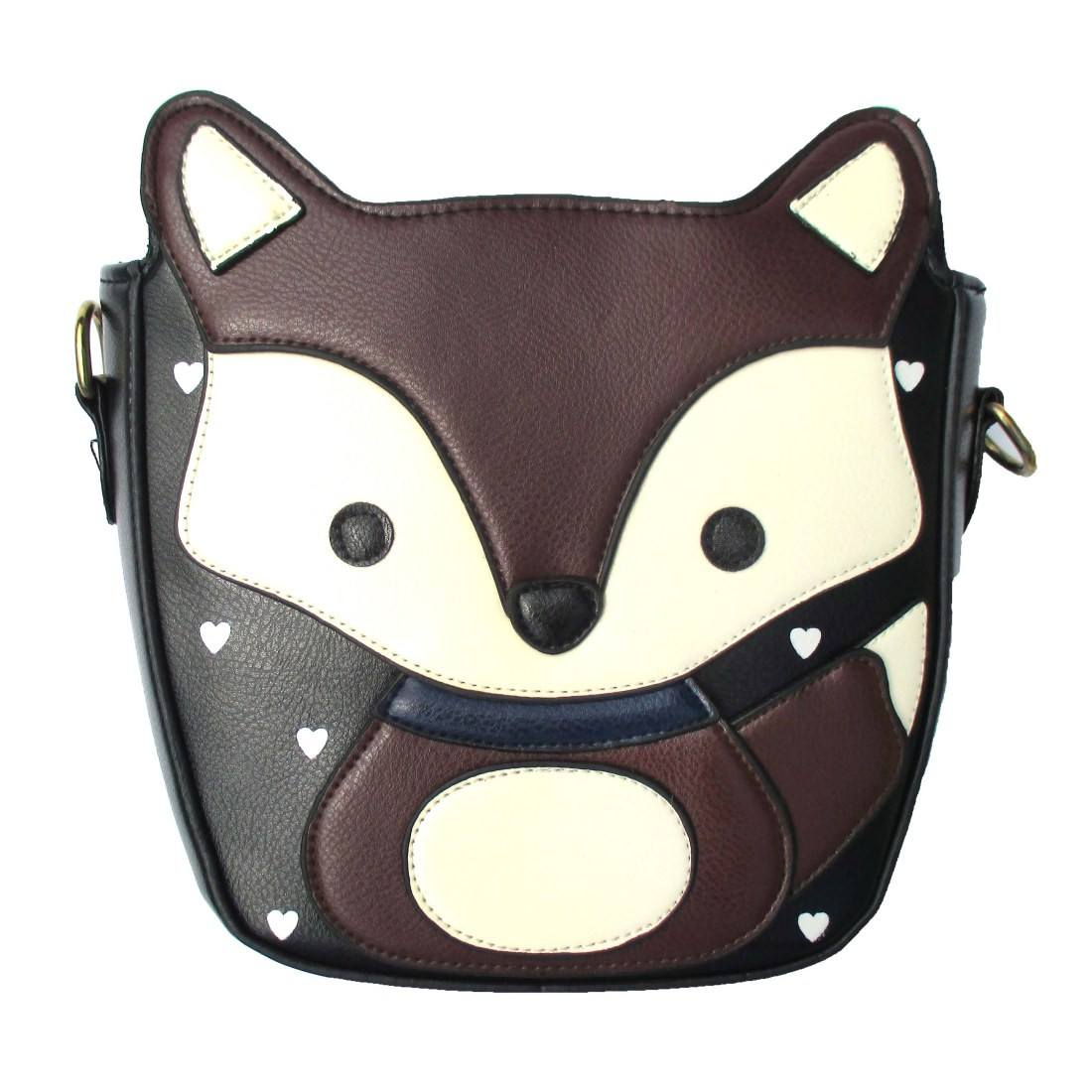 Fox Wolf Shaped Animal Themed Cross Body Shoulder Bag in Dark Brown