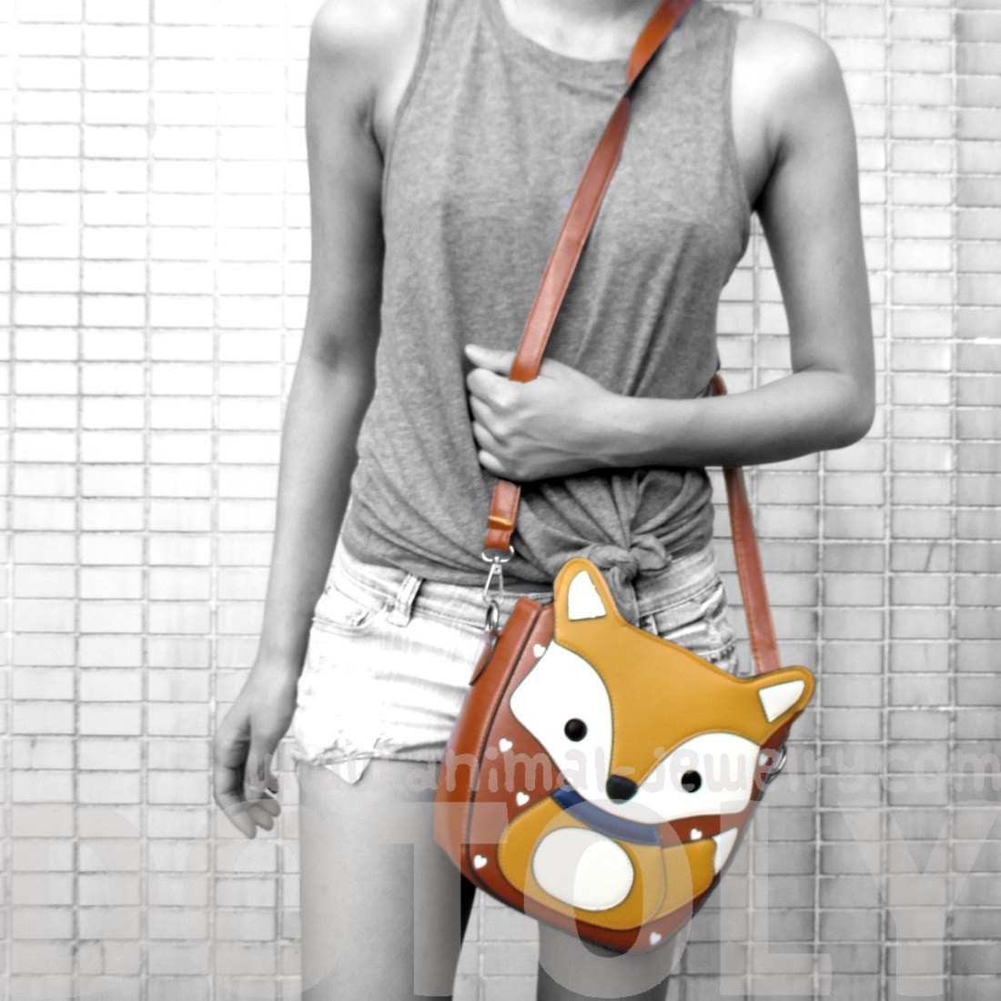 Fox Wolf Shaped Animal Themed Cross Body Shoulder Bag in Light Brown