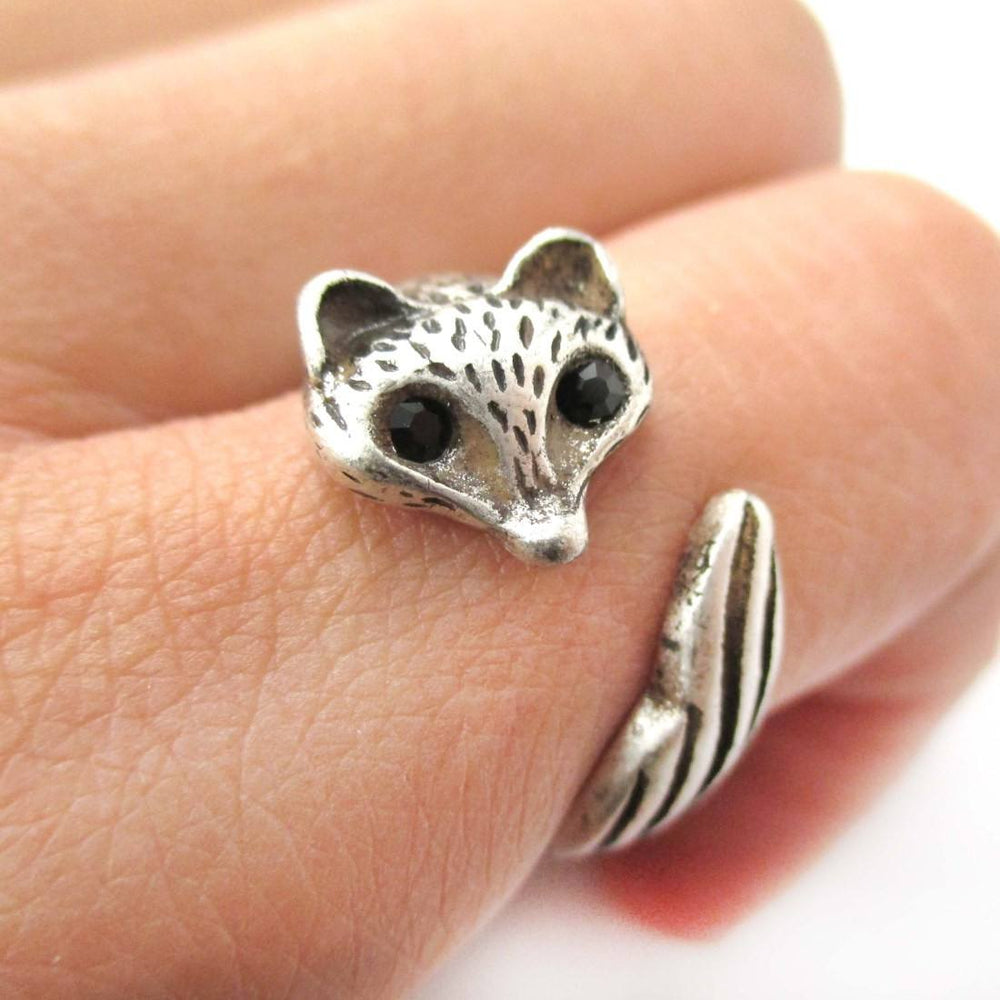 Adorable Fox Wolf Shaped Animal Wrap Around Ring in Silver | DOTOLY