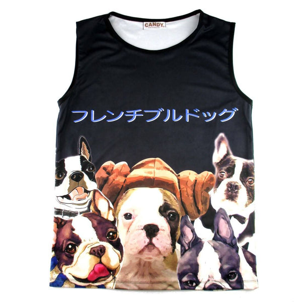 Adorable French Bulldog Photo Graphic Print Oversized Unisex Tank Top