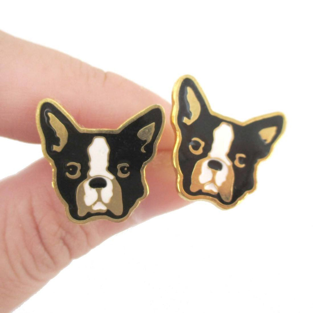 Adorable French Bulldog Puppy Dog Face Shaped Stud Earrings | DOTOLY