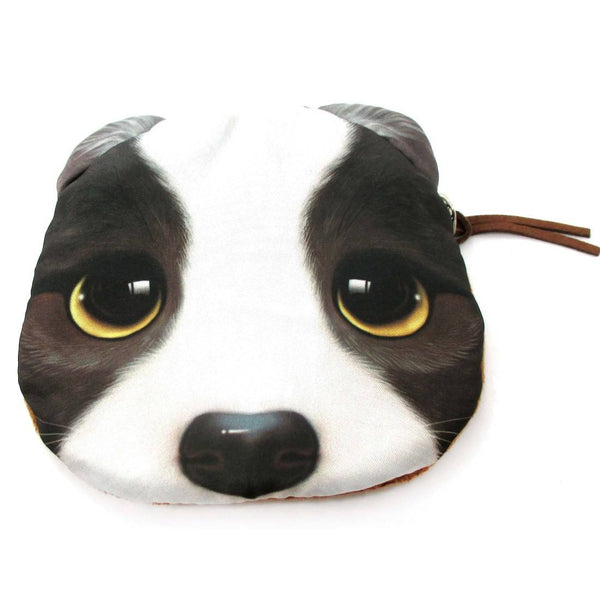 Adorable French Bulldog With Sad Puppy Eyes Face Shaped Soft Fabric Coin Purse Make Up Bag | DOTOLY