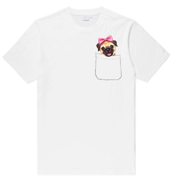 Adorable Girl Pug Puppy in Your Pocket Graphic Print T-Shirt | DOTOLY