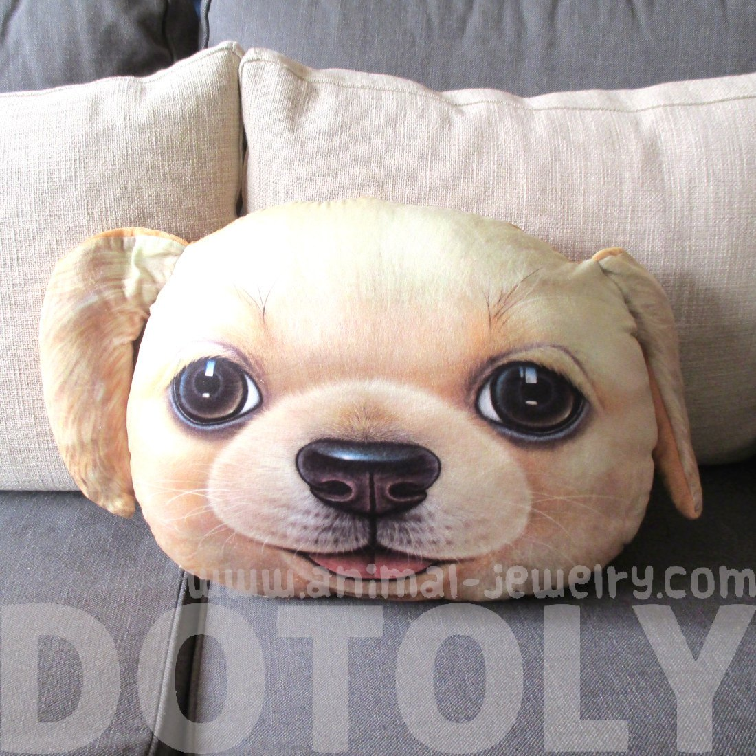 Golden Retriever Puppy Dog Face Shaped Large Cushion