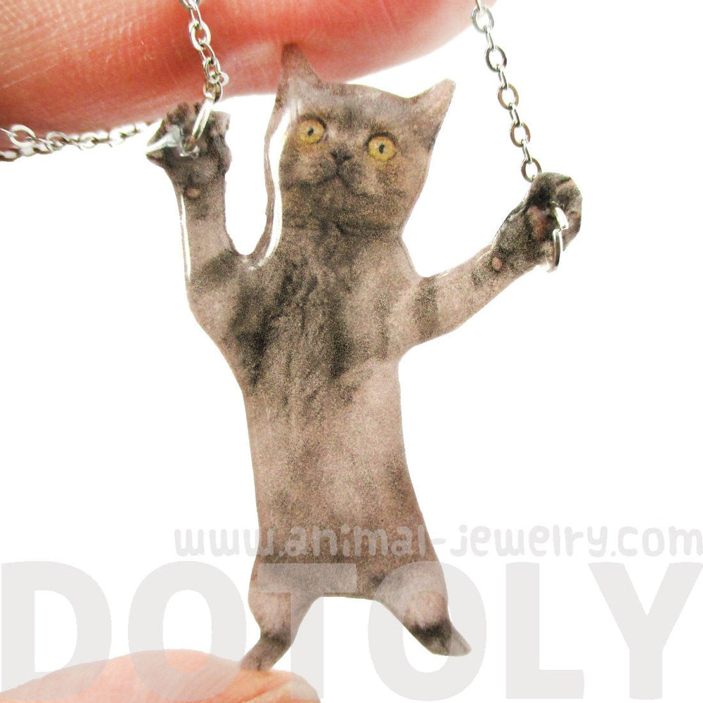 Adorable Grey Kitty Cat Standing on Hind Legs Shaped Pendant Necklace
