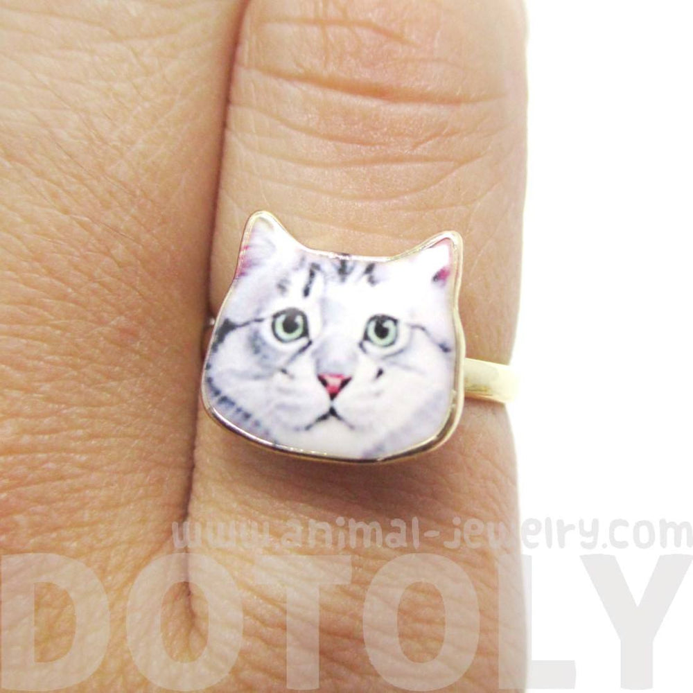 Cute Grey Tabby Kitty Cat Face Shaped Adjustable Ring