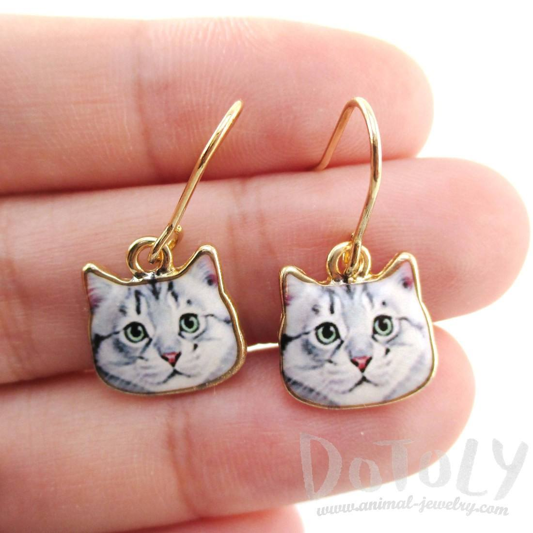 Grey Tabby Kitty Cat Face Shaped Dangle Drop Earrings