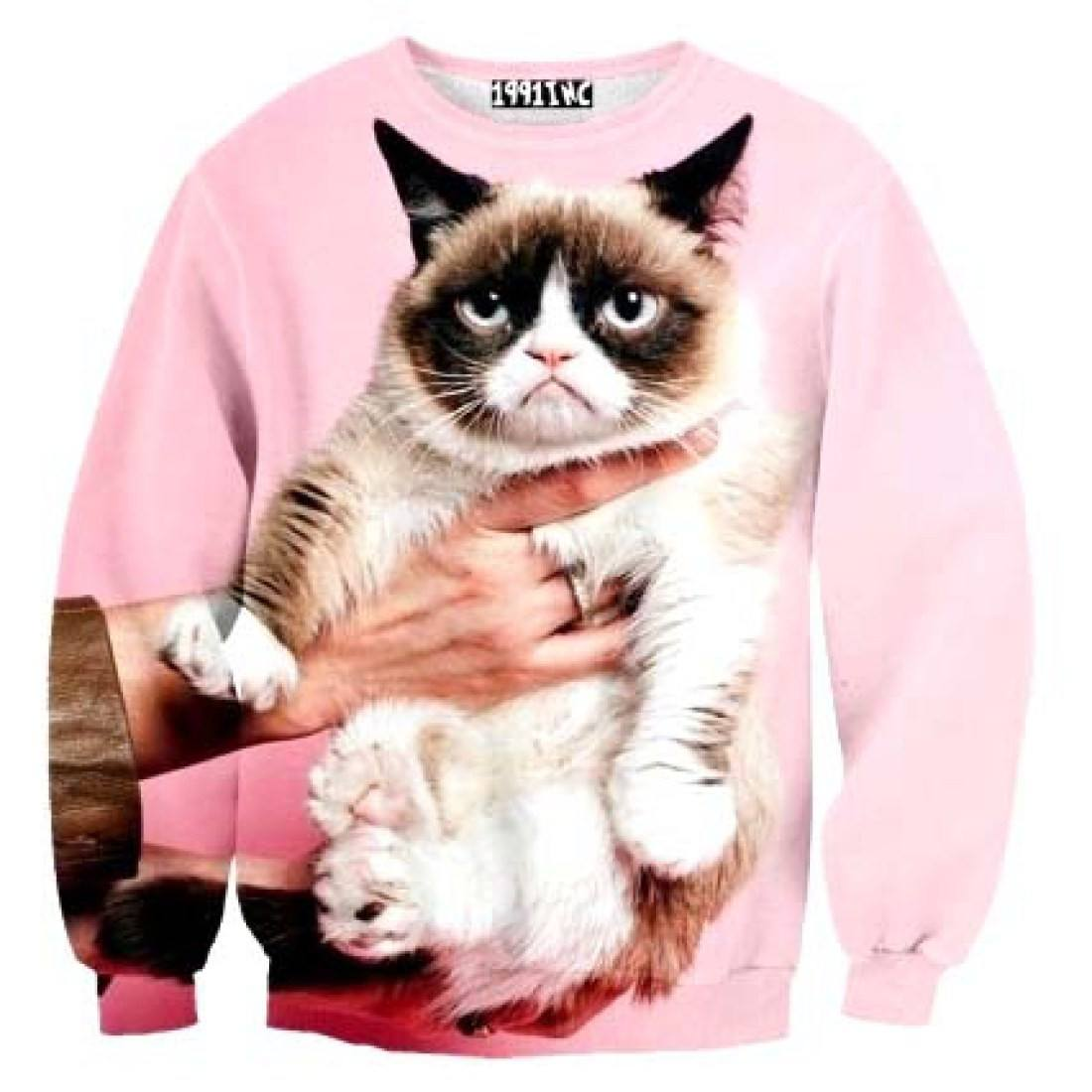 Adorable Grumpy Cat Graphic Print Pullover Sweatshirt Sweater in Pink