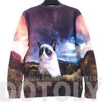 Adorable Grumpy Kitty Cat Space Graphic Print Unisex Pullover Sweater