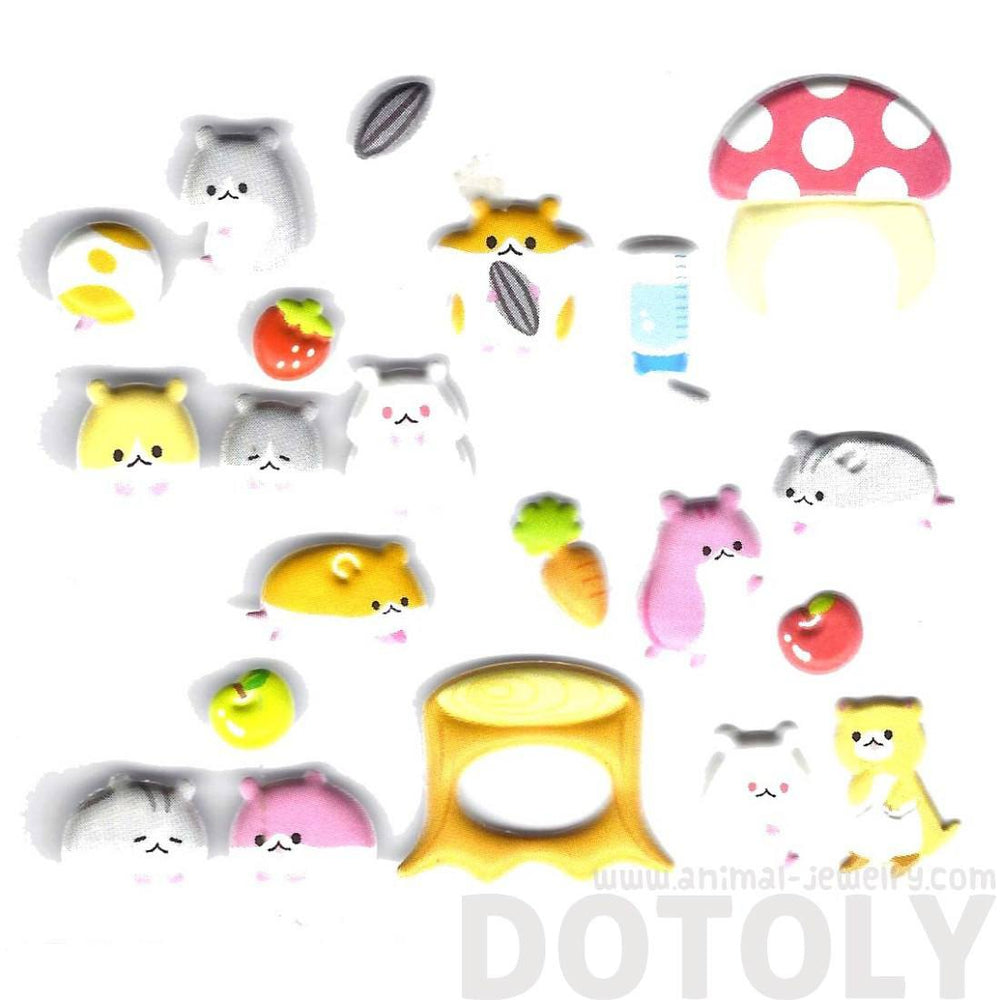 Adorable Hamsters Gerbils Guinea Pigs Shaped Animal Themed Interactive Puffy Stickers | 2 Sheets | DOTOLY