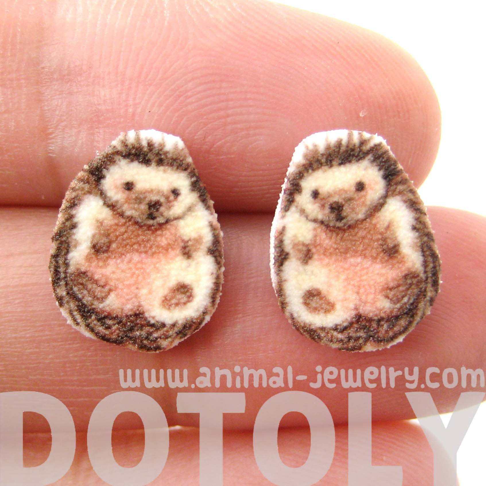 Adorable Hedgehog Porcupine Shaped Animal Stud Earrings | Handmade