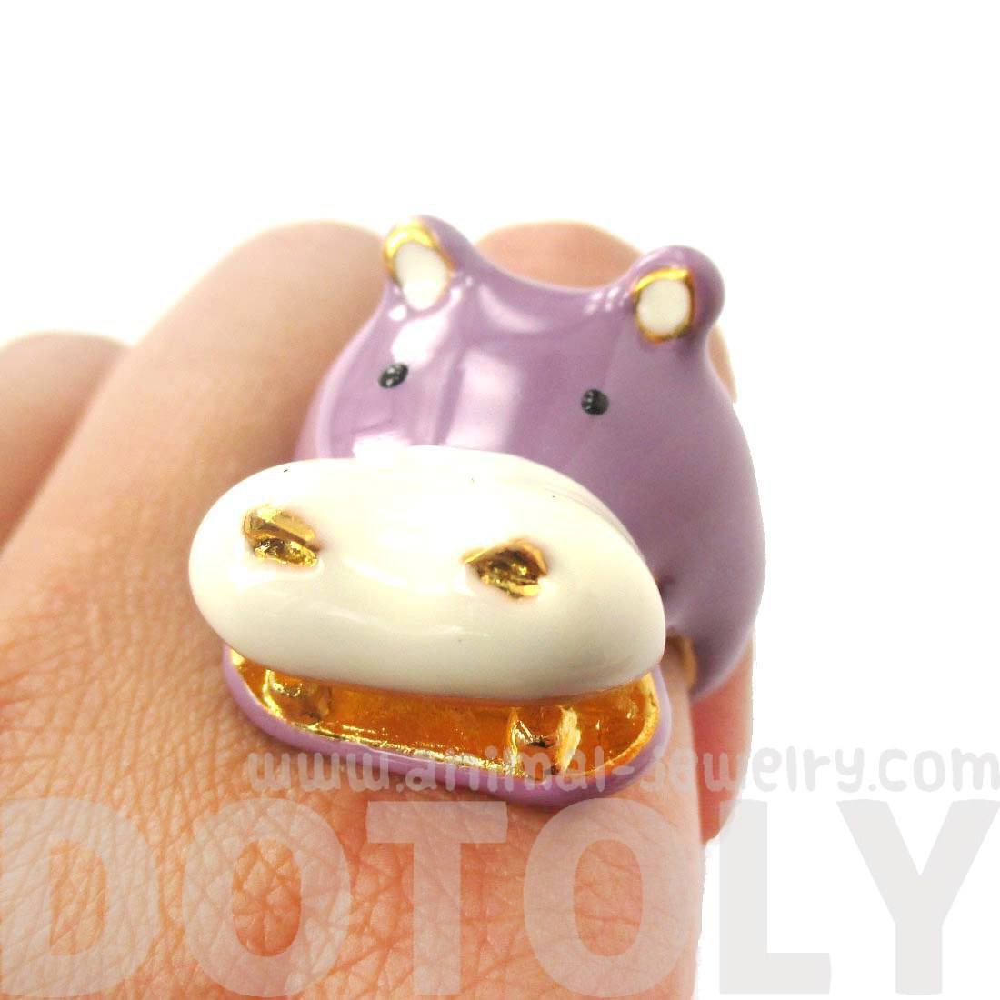 Adorable Hippo Hippopotamus Shaped Animal Ring in Purple Enamel