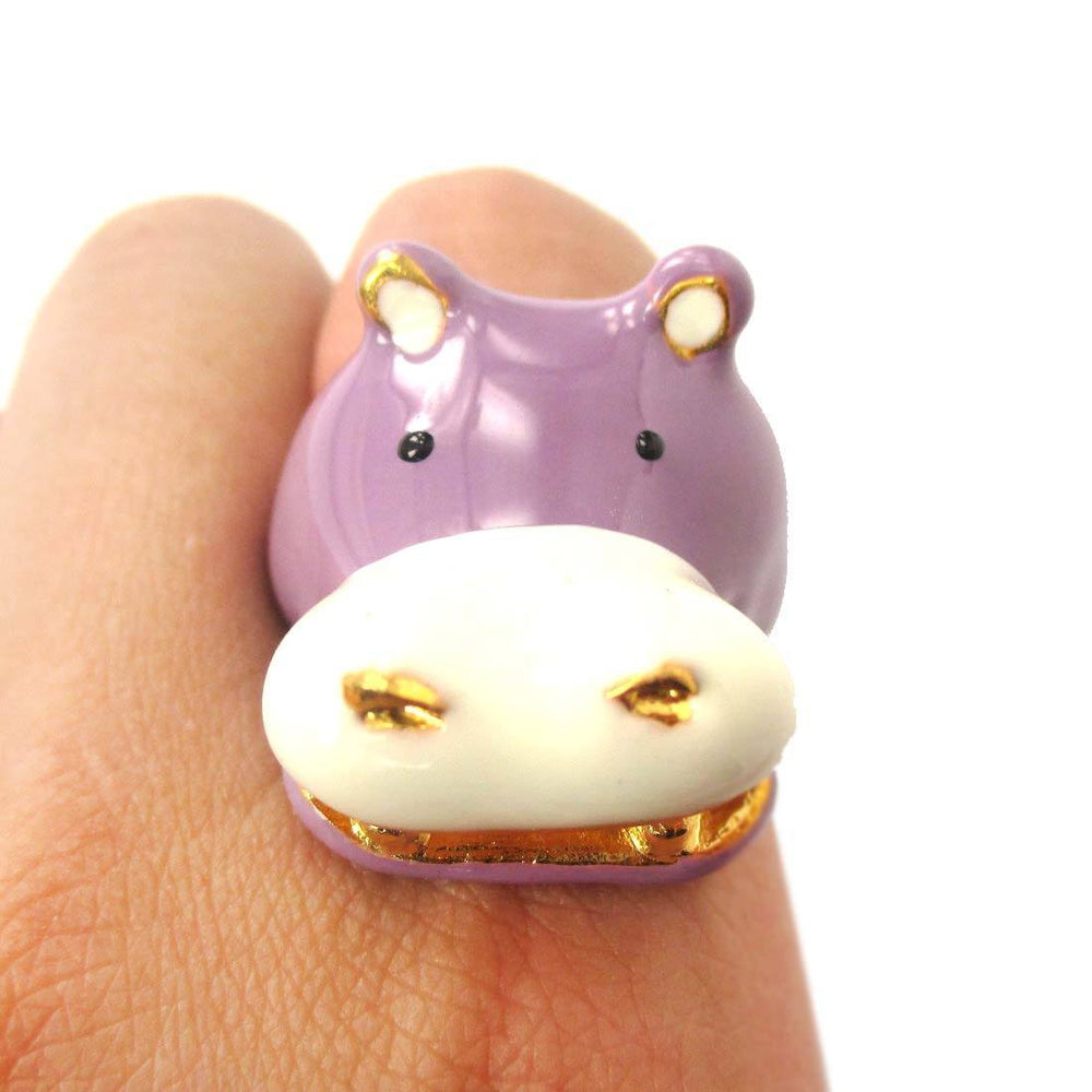 Adorable Hippo Hippopotamus Shaped Enamel Animal Ring in Purple | US Size 6 and 7 | Limited Edition | DOTOLY